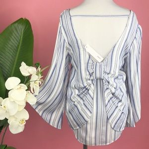 Anthropologie DREW Coastal Seaside Stripe Bow Top